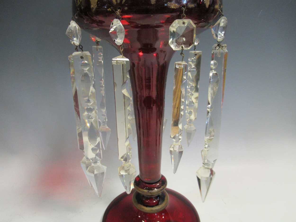 A pair of Bohemian red glass lustres, with gilt decoration, 40cm high - Image 7 of 9