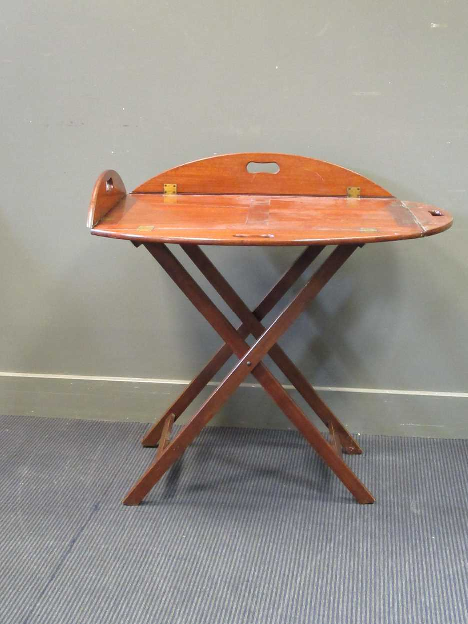 A mahogany butlers tray on folding stand (2) - Image 4 of 6