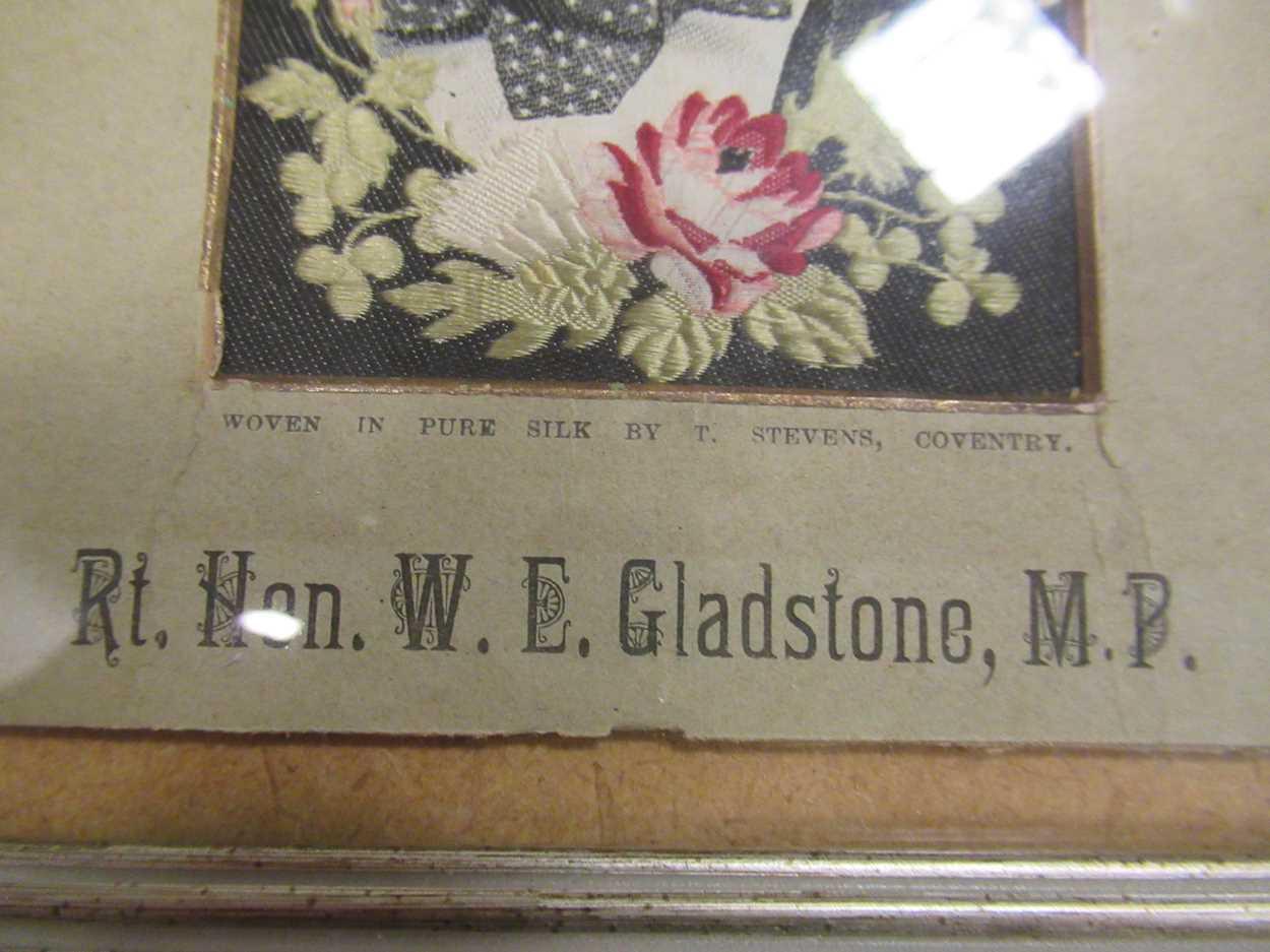 W E Gladstone, a woven Stevengraph portrait 15 x 10cm & Russian scene - Napoleon's flight, 1811 17 x - Image 2 of 5