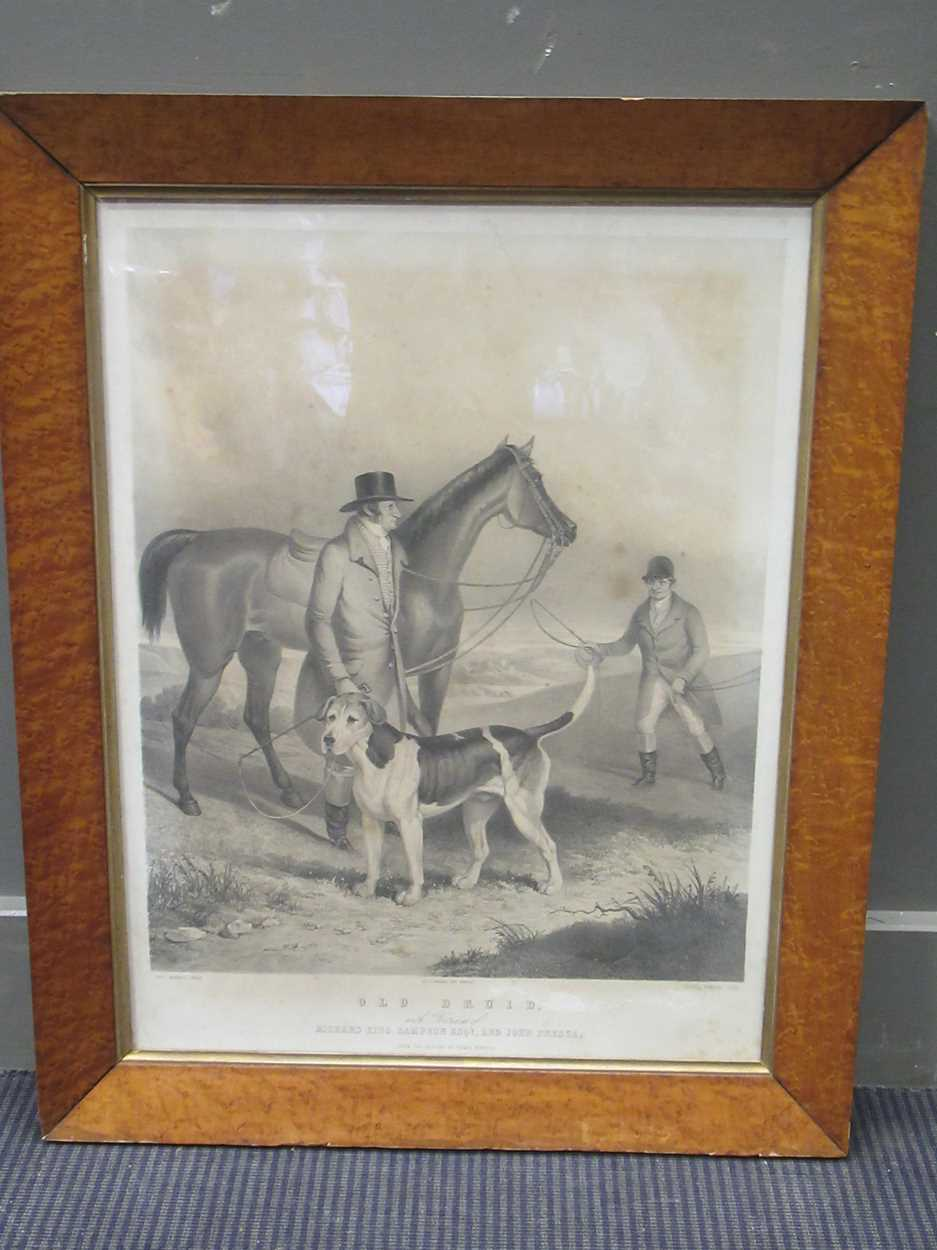 Two large Victorian maple frames, each containing a print, with print 53 x 43 cm, 65 x 45cm together