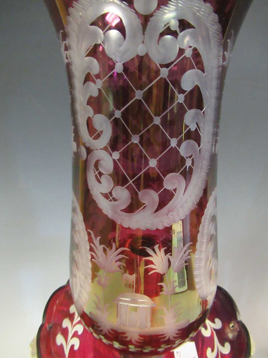A pair of red glass candle lustres, 45cm high - Image 5 of 8