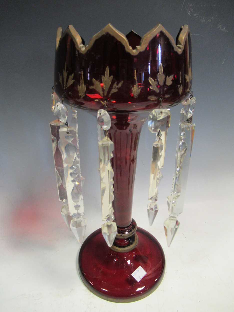 A pair of Bohemian red glass lustres, with gilt decoration, 40cm high - Image 3 of 9