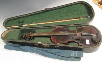 German violin labelled Mathias Neuner, Geigenmacher in Mittenwald, 1883, cased with a bow