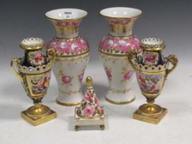 A garniture of Worcester vases with script marks, two pairs of 19th century Staffordshire