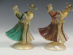 Two Murano glass figures of dancers tallest 30cm highProvenance:Landwade Hall, Exning,