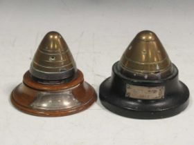 Two World War One shell fuses, the bases with silver plaques inscribed 'Gallipoli 1915' and 'Antwerp