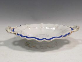 A 19th century two-handled commemorative pottery comport, the centre printed 'First June 1794 HOWE'