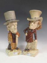 A rare pair of Whitman and Roth pottery figures of William Gladstone and Benjamin Disraeli tallest
