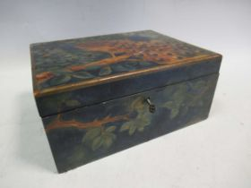A late 19th century painted box decorated with peacocks 13 x 16.5 x 21cm