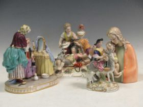 Three continental porcleain figure groups and another, tallest 20cm high (4)Provenance:Landwade