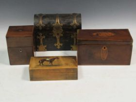 A coromandel wood stationary casket, two Regency tea caddies, and a box painted with a horse and