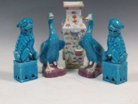 A pair of Chinese turquoise temple lions, a pair of ducks and a Chinese Vase (5)Condition report: