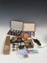 A Morocco cased 1937 proof coin set, another part set, various other assorted coins, stamps, studs