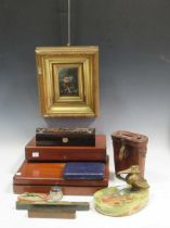 A cold painted bronze model of a lizzard mounted to an agate base, an Art Deco bronzed model of a