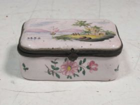 An 18th century enamel box 4 x 10 x 6.5cmProvenance:Landwade Hall, Exning, Suffolk