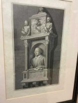 British writers and actors. Collection of prints and engravings, including:Shakespeare's Monument,