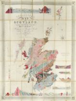 KNIPE (J A) Geological Map of Scotland, Lochs, Mountains, Islands, Rivers and Canals. The Railways