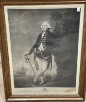 V Green after L F Abbott, Rt Hon Lord Hood Admiral of the Blue, mezzotint, 58 x 40.5cm (visible)