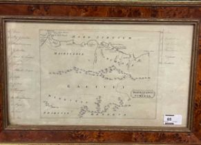 Mauritania et Numidia, pen and ink map with numbered key to both sides, 19th century, 21 x 37cm,