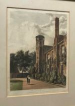 A collection of 12 early 19th century engravings, mostly Cambridge interest and by Ackermann or