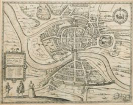 Bristol. BRAUN and HOGENBERG.Brightstowe, circa 1588, uncoloured engraved double page town plan,