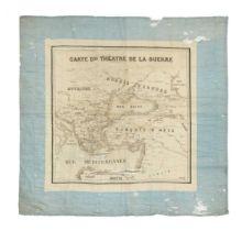 A printed silk handkerchief souvenir map, 'Carte du Theatre de la Guerre', possibly representing the