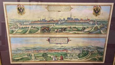 BRAUN and HOGENBERG. Vienna / Buda. Double-page engraving with city views of Vienna above