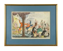 Four hand coloured satirical cartoons. William Heath, 'How to keep one's Place. AD 1833', publ.
