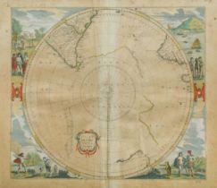 Johannes JanssoniusPolus Antarcticus, hand-coloured double-page engraved map of the South Polar