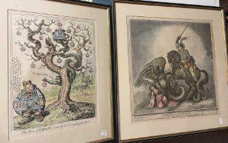 Three satirical cartoons.
