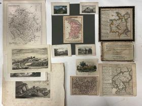 Engraved or etched county maps, to include Cheshire by P. Van Der Keere, North Wales by Badeslade