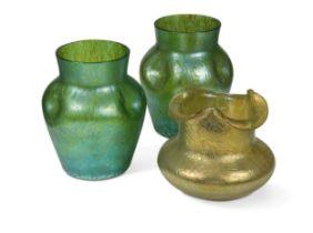 Attributed to Loetz, a pair of Creta Papillion iridescent glass vases,