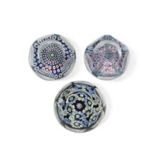Three Whitefriars faceted glass paperweights,