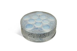 Roger, a Lalique opalescent glass powder box and cover,