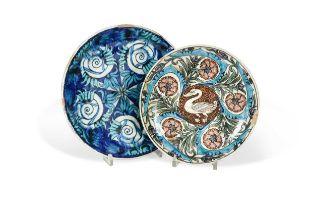 Charles Passenger for William De Morgan, two Persian style shallow dishes,