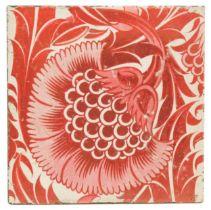 William De Morgan, Fulham, a BBB variant ruby lustre tile,