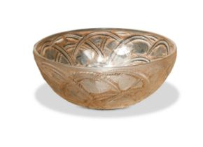 Pinsons, a Lalique clear, frosted and brown heightened glass bowl,