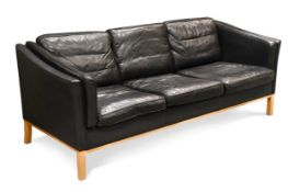 A Stouby style black leather three-seat sofa,