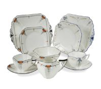 A Shelley Queen Anne 'Blue Iris' pattern tea set,