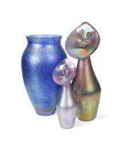 An iridescent cobalt blue glass vase, 20th century,