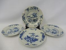 Three matching 19th Century or earlier Chinese blue and white plates plus one other.