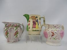 A 19th Century Sunderland lustre jug, one other plus a Staffordshire jug depicting a lady and