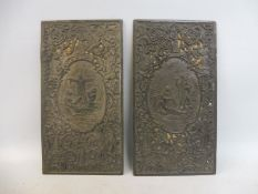 A pair of early 19th Century pierced lead relief plaques.