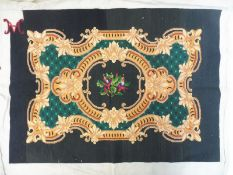 """A good quality needlepoint tapestry panel, monogrammed to the corner, 30 1/2 x 25 3/4""""."""
