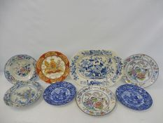 "A large 19th Century ironstone meat platter stamped 'Dresden Opaque China' 15 x 11"", two Victorian"
