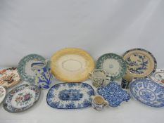 A collection of 19th Century ceramics including a bread plate.