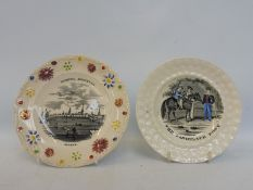 Two Victorian child's plates: The Favourite Pony and Hamburg.