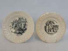 Two Victorian child's plates: Little Strokes Fell Great Oaks and Dr Franklin with alphabet border