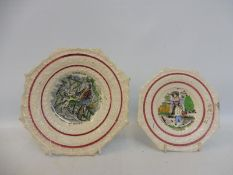 Two Victorian child's plates: Robinson Crusoe and Family at Dinner and Hens and Chickens.