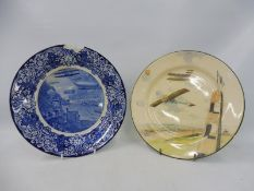 An unusual Royal Doulton 'Aero' blue and white transfer printed plate with acanthus leaf and